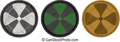 Four-leaf combat patches - Variations of coloured four-leaf...