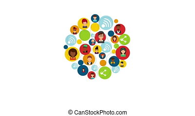 People icons, animation - People communication icons, Video...
