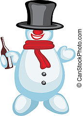 Snowman - Vector illustration of funny snowman