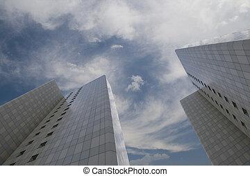 corporate buildings on blue sky