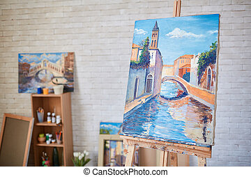 Masterpiece - Painting of Venetian street on canvas