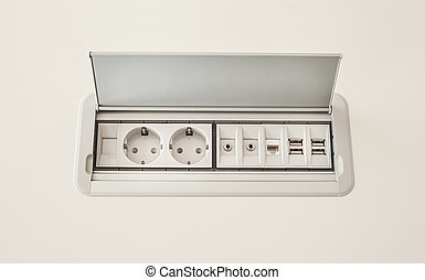 Electrical Plugs - Modern electric plugs built in table,...