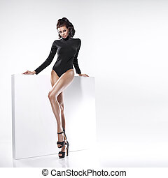 Young beautiful lady with long legs - Young beautiful lady...