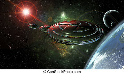UFO space - UFOs in space reaching a planet 3d rendering