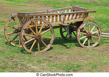 Old cart - Old wooden cart in the yard of a village house