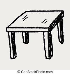 テーブル, いたずら書き,