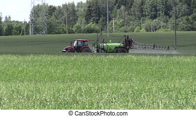 tractor fertilize crop - farmer tractor spraying fertilize...