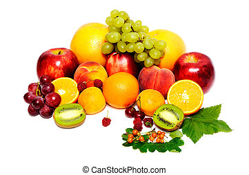 fruits - Fresh fruits isolated on a white background...