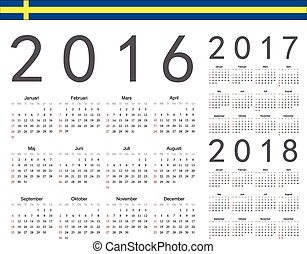 Set of Swedish 2016, 2017, 2018 year vector calendars. Week...