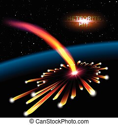 Space card with meteorite hit and explosion