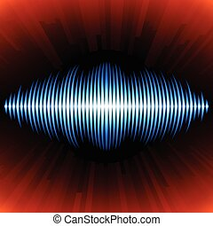 Blue shiny sound waveform