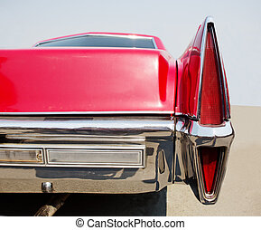 old red American car close-up