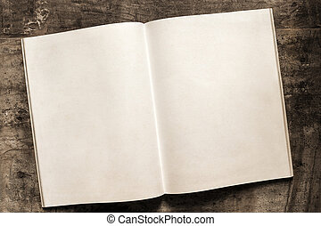 Open Book Blank Pages on Grunge Timber Background