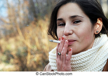 smoking girl - portrait of a smoking teenage girl