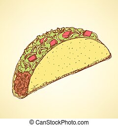 Sketch mexican taco in vintage style, vector