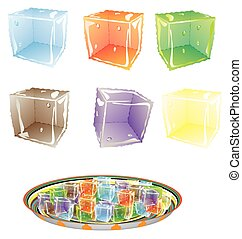 Colored Ice cube. Set colorful ice cubes, eps10....