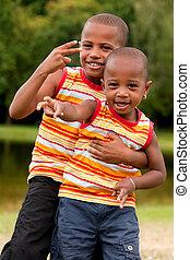 africano, niños, ginving, paz, señal