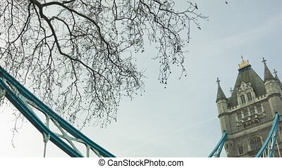 Tower Bridge at morning time, London. Pan and Tilt shot from...
