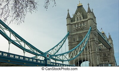 Tower Bridge at morning time. London awakens. Wide angle...