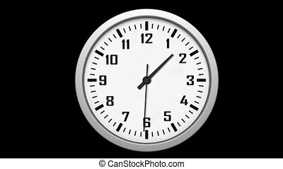 Animated clock counting down 12 hours over 30 seconds....