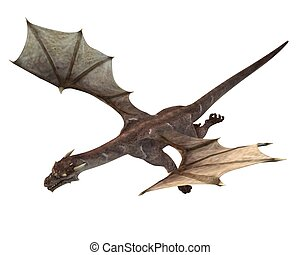 Soaring Dragon - 3D digital render of a soaring fantasy...