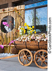 Street scene with flower cart and beautiful reflection of...