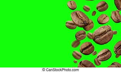 Coffee Beans falling down on green background