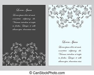 Black and white flyers with ornate floral pattern