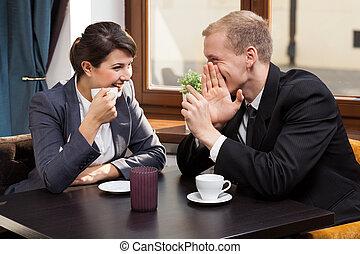negócio, amigos, durante, café, tempo,