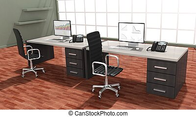 Interior of a modern office with double work space