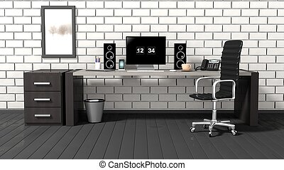 Interior of a modern office with a white brick wall