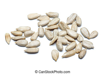Sunflower seed isolated on white - Pile of sunflower seed...