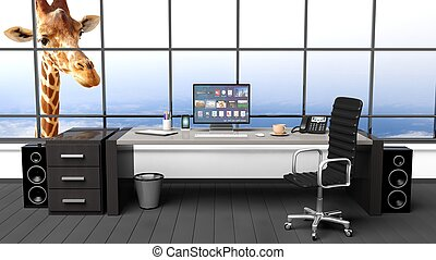 Interior of a modern office with window and funny girafe
