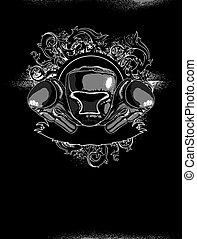 Sport Boxing - decorative art symbol with a boxing helmet...