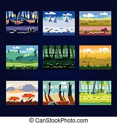 Set of Seamless Cartoon Landscapes for Game Design - Set of...