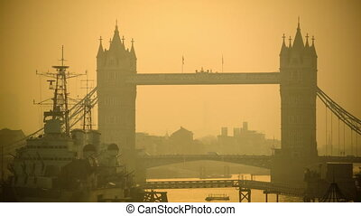 Traffic on Tower Bridge - Two iconic symbol of London, the...