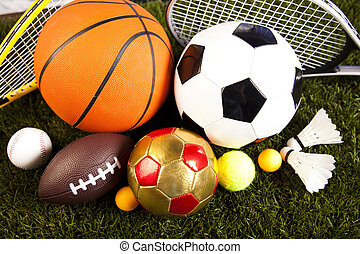 Assorted sports equipment, natural colorful tone