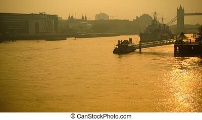 Panoramic view of Tower Bridge - Life on the river Thames in...