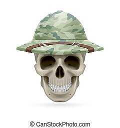 Hat skull - Cork camouflage hat on skull isolated on white...