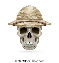 Hat skull - Cork camouflage hat on skull isolated on a white...