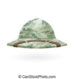 Pith helmet - Cork camouflage hat isolated on a white...