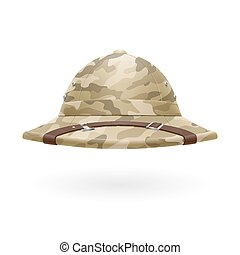 Pith helmet - Cork camouflage hat isolated on white...