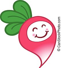 Happy cartoon radish with a cute smile, rosy cheeks and...