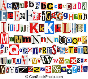 Colorful newspaper alphabet - Big size collection of...