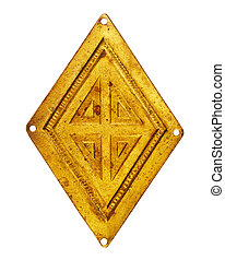 Old brass rhombus - Vintage jewelry element - brass rhombus-...