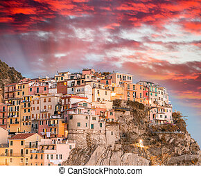 Sunset over Manarola - Five Lands, Italy