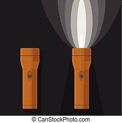 Vector illustration of two orange flashlights