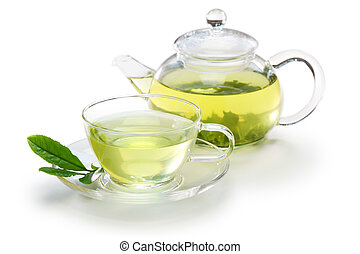 Japanese green tea - glass cup of Japanese green tea and...