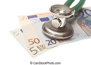 Stethoscope on the top of the money