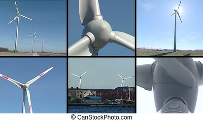 windmills collage - Windmills rotating in wind producing...